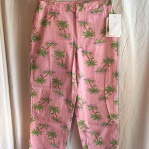 Capri pants pink with palm trees